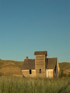 A photo of an abandoned building in the Badlands