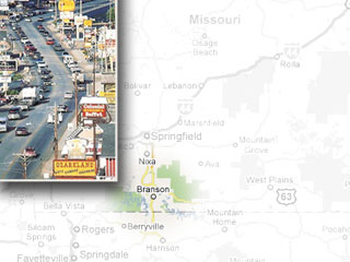 A map and photo of Branson, Missouri