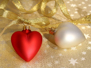 A photo of christmas hearts