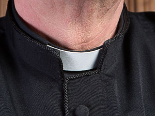 A photo of a clergyman's collar