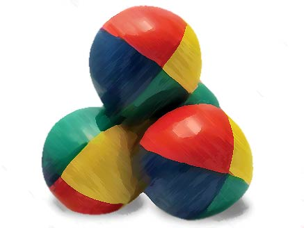 An image of 3 colorful juggling balls
