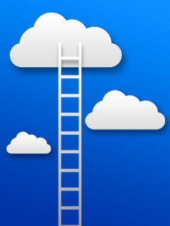 An illustration of a ladder reaching to Heaven