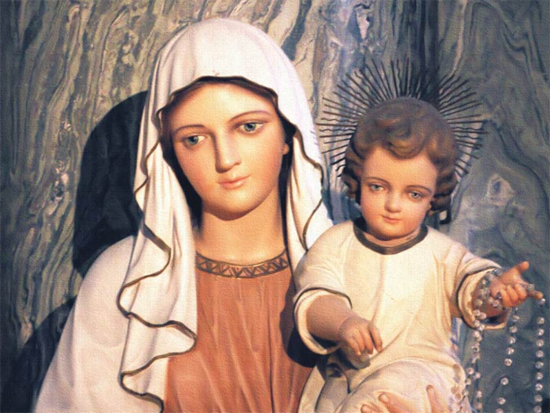 An illustration of Mary and Jesus