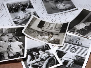Several black and white photos of childeren taken in the 1950s