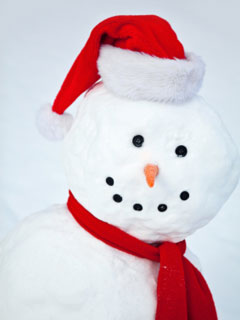 A photo of a snowman wearing a santa hat