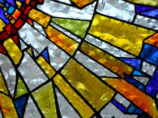 A photo of a colorful stained glass window