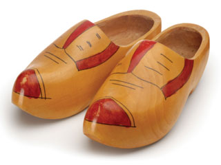 A photo of wooden shoes