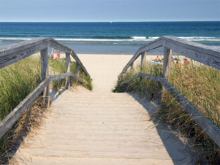 A photo of a wooden walking bridge on the beach