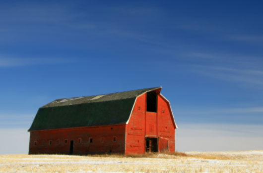 A photo of a red barn located in field of yellow grasses with a light snow covering.
