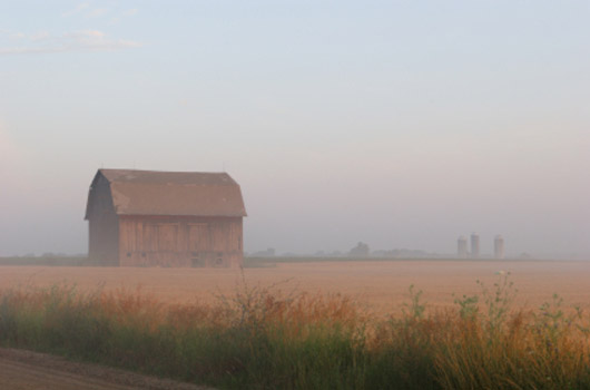 A photo of a barn and field in the early morning fog