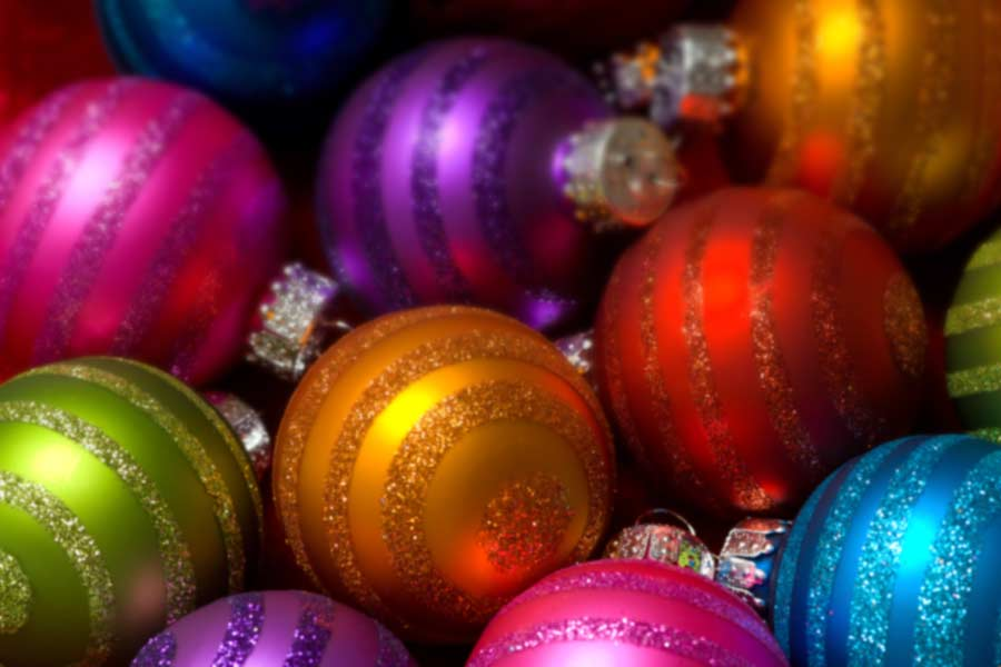 A photo of colorful Christmas ornaments