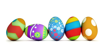 A photo of colored Easter eggs
