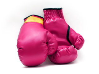 A photo of red boxing gloves