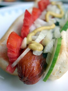 A photo of a Chicago style hot dog