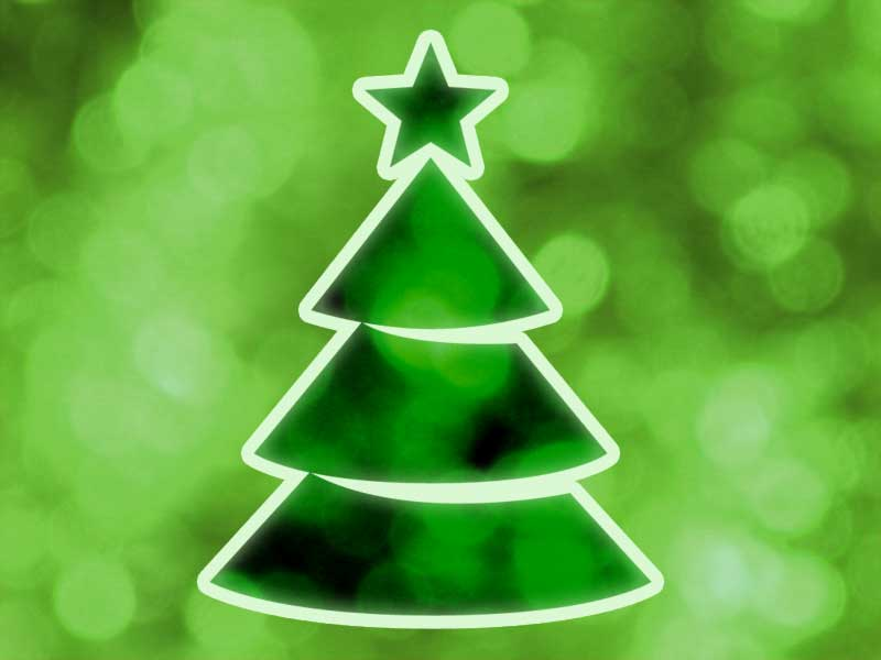 An illustration of blurred green lights and a Christmas tree
