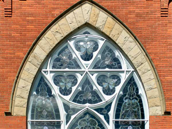 A photo of a Church window.