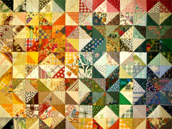 A photo of a colorful quilt.