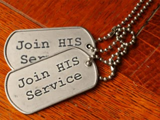 "A photo of 2 military-like dog tags that read ""Join His Service"""