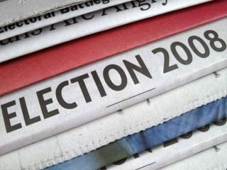 A photo of a stack of newspapers with the words Election 2008