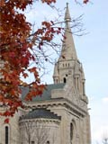 Photo of a church steple in Autumn