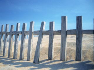 A photo of a weathered wooden fence in the sand on the beach