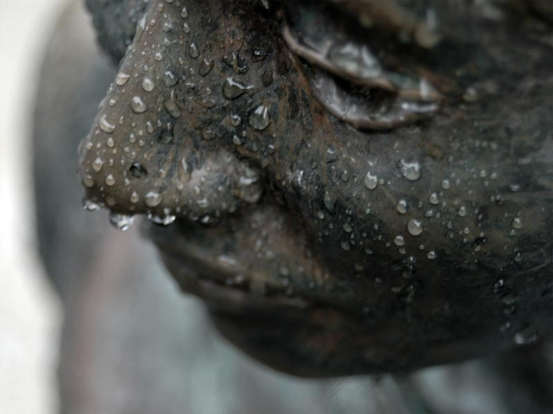 A photo of rain on a statue