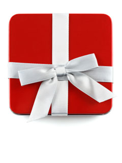 A photo of a red present