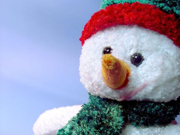 A photo of a fluffy snowman