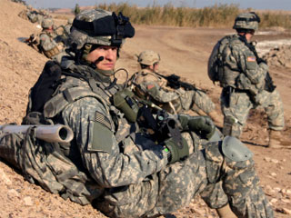 A photo of an American soldier in Iraq