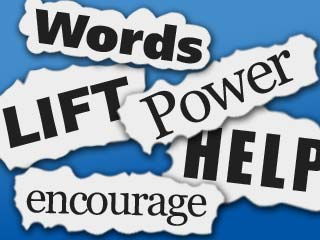 An illustration that spells out Words, Lift, Power, Help, and Encourage